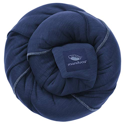 manduca Sling > Navy < Elastisches Babytragetuch mit GOTS Zertifikat 100% Bio-Baumwolle 3 Binde-Anleitungen (Bauchtrage, Wickelkreuztrage, Hüfttrage) für Neugeborene & Babys ab Geburt, jeans-blau