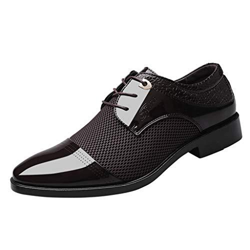 Sunday Herren Lederschuhe Elegant Business Schuhe Formal Schuhe Für Hochzeit Party Männer Berufsschuhe Schnürhalb Uniform Schuhe 37-46 (44 EU, Braun)