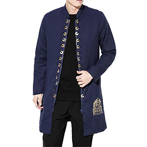 Check Out This Men's Autumn Solid Color Copper Money Decorative Chinese Style Fashion Zipper Long Ca...