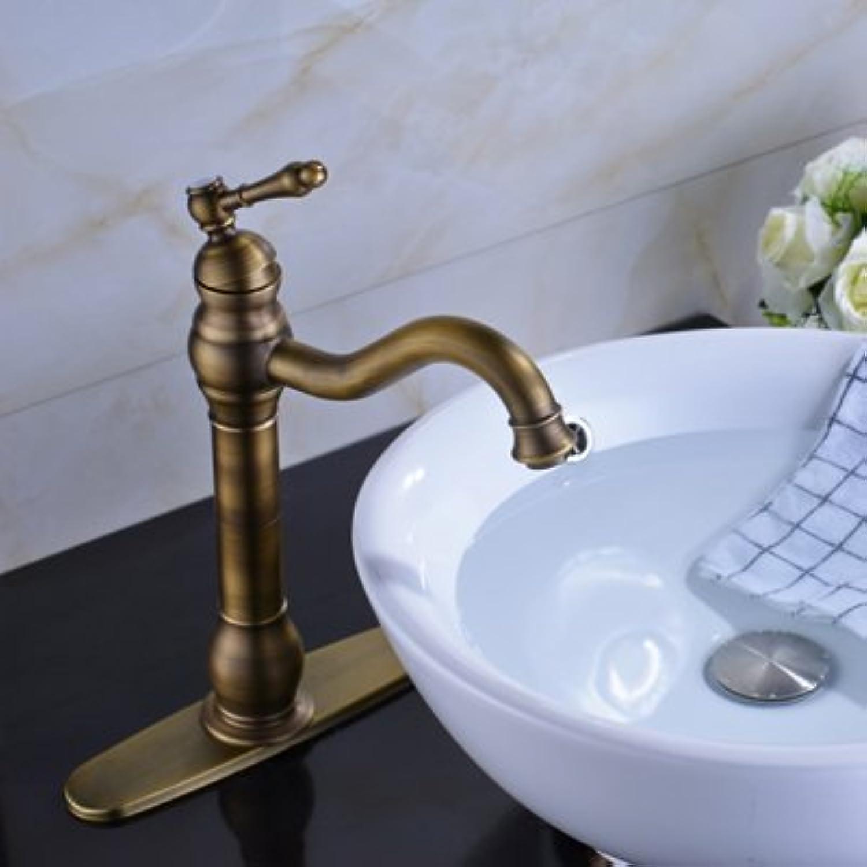Maifeini Retro Style Waschbecken Wasserhahn Deck Mount Einzigen Griff Waschbecken Armaturen Messing Antik, 10 Cm Abdeckplatte