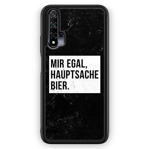Mir Egal Hauptsache Bier - Silikon Hülle für Huawei Nova 5T - Motiv Design Cool Witzig Lustig Spruch Zitat Grunge - Cover Handyhülle Schutzhülle Hülle Schale