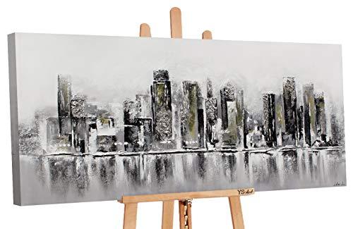 YS-Art Premium | Dipinti a Mano Colori Acrilici Megalopoli | Quadro Dipinto a Mano | 160 x 80 cm | Pittura | Dipinti Modern | Quadri Dipinti a Mano | Grigio | PS 010