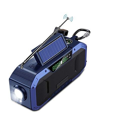 Radio Solar, Am/FM 5000mAh Radio de Emergencia a Prueba de Agua con Manivela con Brújula, Lámpara Lectura, Linterna LED y Bluetooth Altavoz, Azul (Color : Blue)