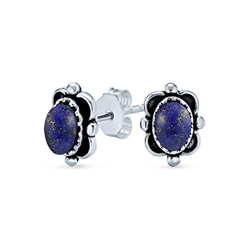 Bali Stil Oval Blau Lapis Lazuli Rechteck Ohrstecker Für Frauen Für Teen Oxidiert 925 Sterling Silber