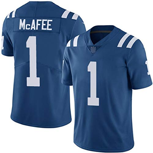 # 1 Indianapolis Colts McAFFE Herren Rugby Trikots, American Football T-Shirt, Fußball Sportswear (s-XXXL)-Blue-L
