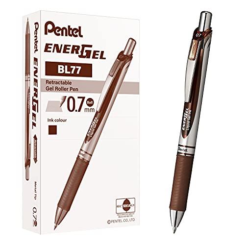 (Pack of 12, Brown) - EnerGel XM Retractable Brown Ink Rollerball Pen (Pack of 12)