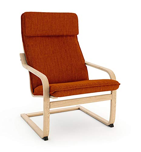 Vinylla Funda de repuesto para sillón compatible con IKEA Poäng (Cojín diseño 1, poliéster, naranja)