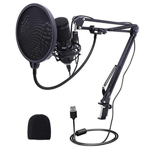USB Podcast Condenser Microphone for Computer, Plug&Play Cardioid PC Microphone with 192kHz/24bit Professional Sound Chipset, Boom Arm Stand Kit for Streaming, Recording, Singing, Gaming, Youtube