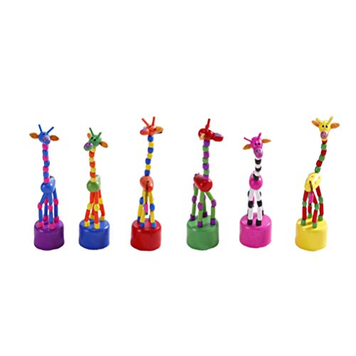VOSAREA 6pcs Wooden Giraffe Toy Push Up Toys Finger Puppets for Home Office Desk Decoration Children Toys Gift (Mixed Color)