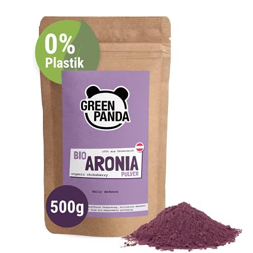 Polvo de Aronia orgánica de cultivo austriaco, bayas de Aronia bio deshidratadas y molidas extra finas sin aditivos, alternativa regional al polvo de Acai, 500 g de Green Panda