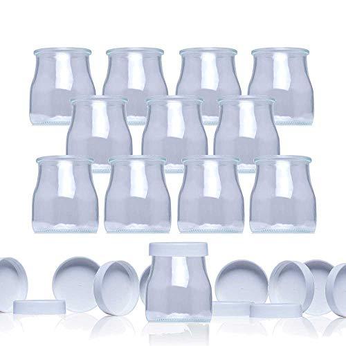 Vasos yogurtera de cristal con tapa pack de 12 botes para yogurtera de 150 Ml tarros para postres recipiente para moulinex, lidl, severin, braum y resto de yogurteras (Tapa Blanca) (150)