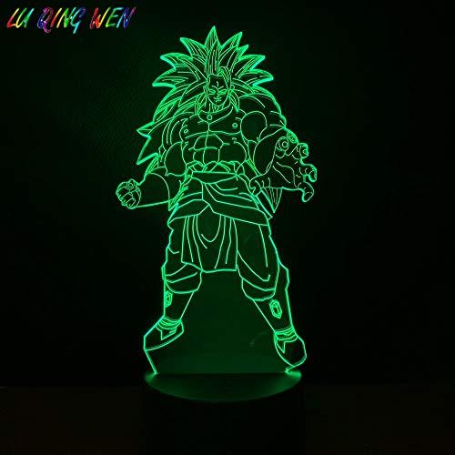 Dragon Ball Broli Figur Super Saiyajin 3D LED Nachtlicht USB Tischlampe Kinder Geburtstag Geschenk Nachtdekoration am Bett