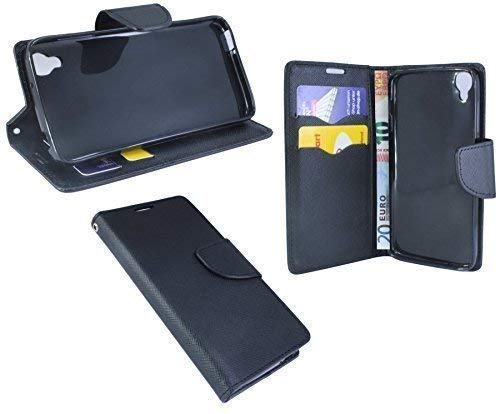 ENERGMiX Elegante Buch-Tasche kompatibel mit Alcatel One Touch Idol 3 (4,7 Zoll) in Schwarz Leder-Optik Wallet Book-Style