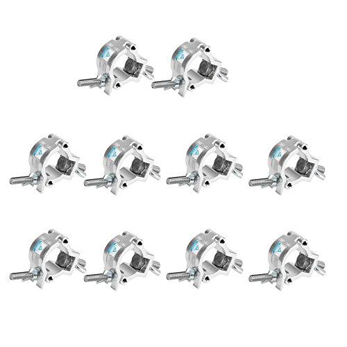 TSSS 10 Stk Mini Alulegierung Haken Traversen Last tragen 75 KG/ 165 lB für Par Scheinwerfer Bühnenbeleuchtung Partylicht Beleuchtung Zubehör,Fit Rohr 32-35mm,Gewindebolzen DIA 9.6mm