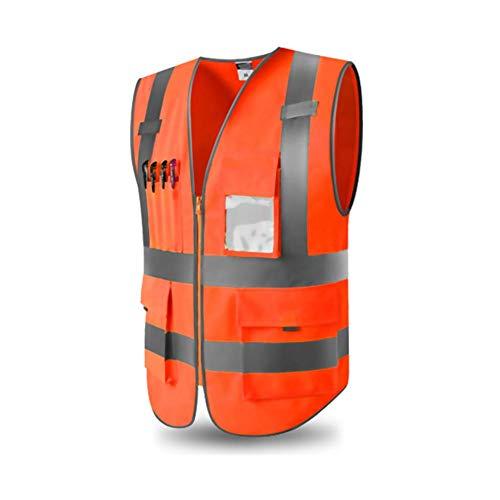 Chaleco de seguridad Naranja Chaleco reflectante con PVC en los bolsillos de la ventana y Cremallera delantera Camiseta transpirable ligera de protección con correay parche de velcro amarillo