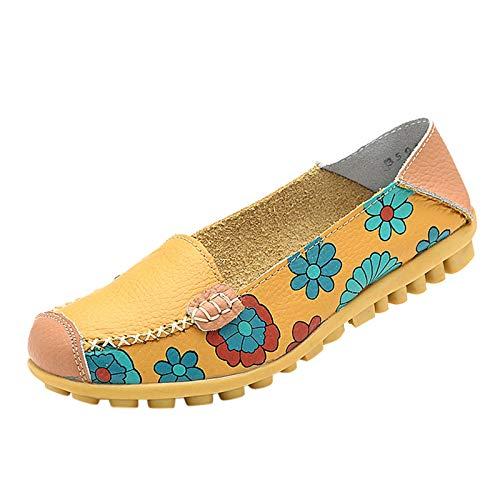 DAIFINEY Damen Mokassin Slipper Loafers Drucken Comfort Schuhe Hüttenschuhe Schlupfschuh Slip on modisch Freizeitschuh Bequeme Flache(2-Gelb/Yellow,39)