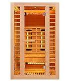 Home Deluxe – Infrarotkabine Redsun M Deluxe Plus – DUO Strahler: Vollspektrum- und Magnesiumstrahler, Holz: Hemlocktanne, Maße: 120 x 105 x 190 cm | Infrarotsauna für 2 Personen, Infrarot, Kabine