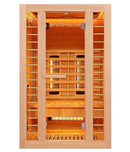 Home Deluxe – Infrarotkabine – Redsun M Deluxe Plus – DUO Strahler: Vollspektrum- und Magnesiumstrahler – Holz: Hemlocktanne - Maße: 120 x 105 x 190 cm – inkl. komplettem Zubehör