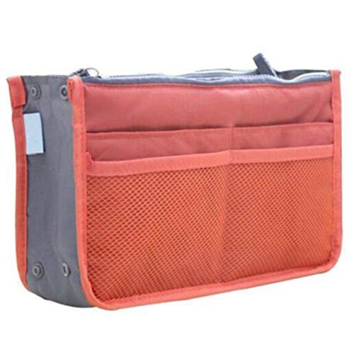 Toporchid Pratique Double Zipper Bag Portable Multi Pocket Purse Bag for Makeup Storage Toiletry (Orange)