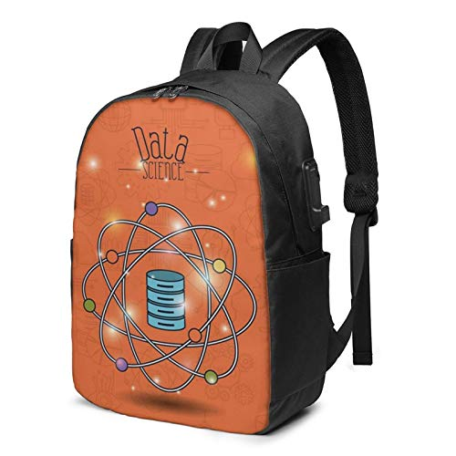 Laptop Backpack with USB Port Chart Analysis Future Tech, Business Travel Bag, College School Computer Rucksack Bag for Men Women 17 Inch Laptop Notebook