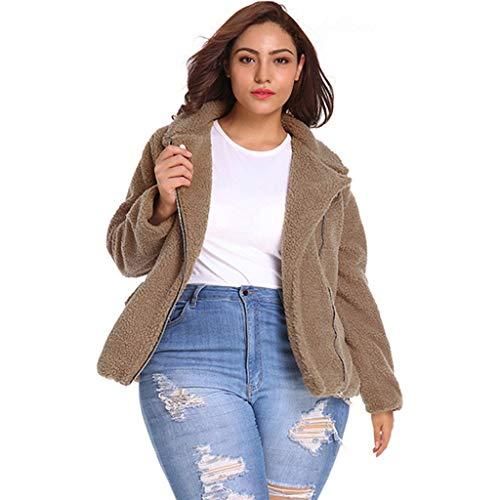 Plot Damen Winterjacke Kurz Wintermantel Revers Teddyfleece Cardigan Zip-Jacke Wolle Outwear Winter Warme Plüschjacke Fleecejacke