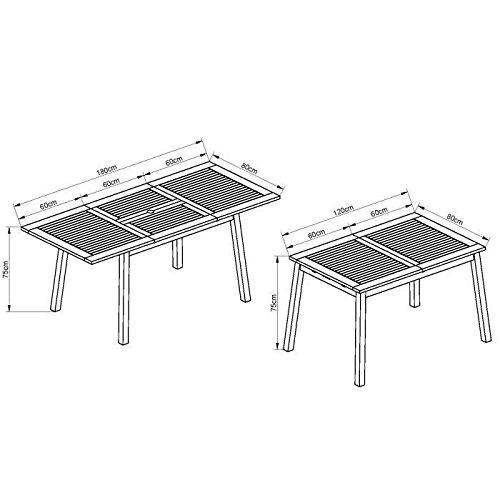 FINLANDEK Juego de mesa de jardín 6 sillas plegables, fabricado en madera de eucalipto-HEIMO: Amazon.es: Hogar