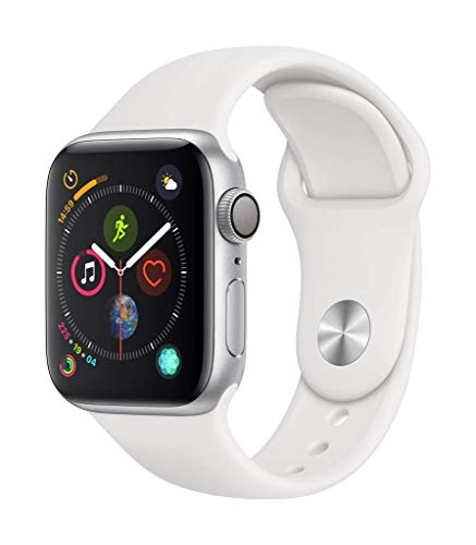 Apple Watch Series 4 44mm (GPS) - Silver Aluminium Case with White Sport Band (Renewed)