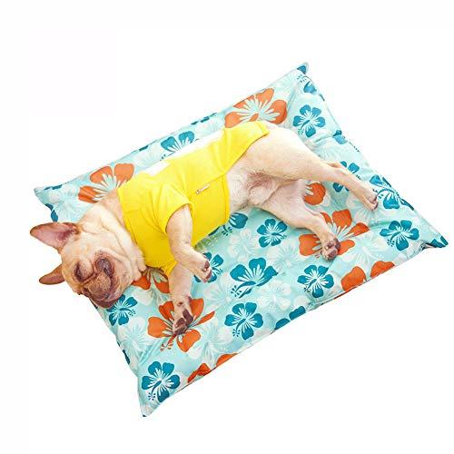 Qnlly Hundehütte Mat Large Dog Golden Retriever Bett zur Reduzierung von Insektenstichen Ice Pad Dog Summer Cooling,L