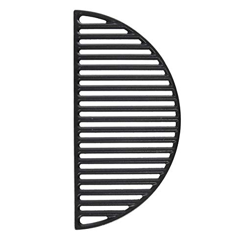 KAMaster 18' Half Moon Cast Iron Divide Conquer Cooking Grate for Large Big Green Egg and Classic Joe or Any 18 Inch Kamado Grill Barbeque Accessories Reversible Grate for Searing