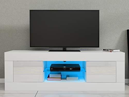 LED Meuble TV en Verre avec 2 Portes sur Salle de Séjour, Salon et Chambre à Coucher etc, Taile: 125 x 35 x 40 cm (Blanc)
