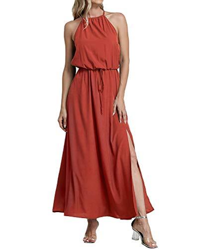 YOINS Sommerkleid Damen Lang Sexy Oversize Ärmellos Strandkleid Casual Partykleid Elegant Lose Kleid HoheTaille Orange 46