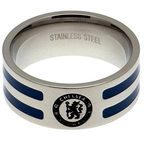 Chelsea FC - Anillo con bandas de colores (Mediano) (Plata/Azul)