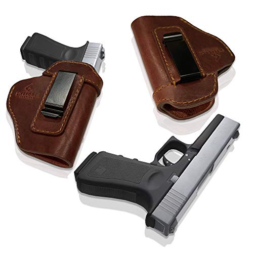 LifeForce Tactical IWB Leather Holster for Concealed Carry, Glock 17 19 22 23 32 33 36 43, S&W M&P Shield 9mm, Springfield XD-S, Similar Size Beretta, H&K, Kel-Tec, Ruger, Taurus (Brown, Left Handed)