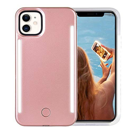 Wellerly iPhone 11 Case, LED Illuminated Selfie Light Up [Rechargeable] Luminous Flashlight Cellphone Case Cover for iPhone 11 - Rose Gold