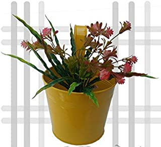 Royal Basket Round Railing Planters for Decorate Your Home and Balcony( Pack of 1 Yellow)