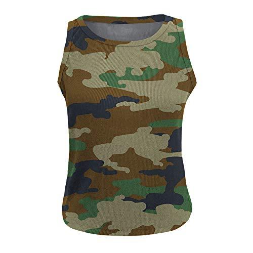 Ekrfxh Camiseta sin mangas para mujer, estilo casual, de camuflaje, para mujer