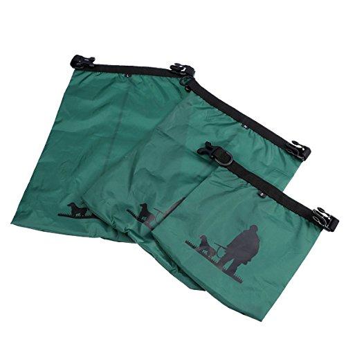 UEETEK 3 Stück / Set Wasserdichte Trockenbeutel,Ultra-light Nylon Packsacks für Camping Bootfahren Kajakfahren Rafting Angeln, ideal zum Speichern von Mobiltelefonen, Kamera, Schuhe, Armeegrün,(1,5 L + 2,5 L + 3,5 L) - 2