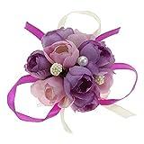 VANKER - Pulsera elegante para novia, dama de honor, hermanas, novia, corsé de flores, mano púrpura