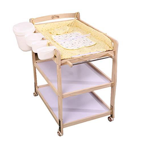 Table à Langer À 3 Tablettes avec Panneau Imperméable, Boîte De Rangement pour Bébé Portatif, Commode en Bois avec Roues
