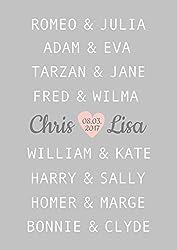 Hochzeitsgeschenk für Brautpaar, Kunstdruck A4 OHNE Rahmen, berühmte Paare, Geschenkidee personalisiert, Jahrestag, Hochzeit, Valentinstag, Traumpaar Liebe