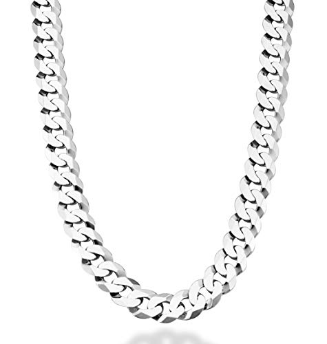 Miabella Solid 925 Sterling Silver Italian 12mm Solid Diamond-Cut Cuban Link Curb Chain Necklace For Men, 18, 20, 22, 24, 26, 28 Inch Made in Italy (28, sterling-silver)
