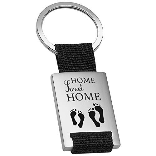 Geschenke 24 Schlüsselanhänger - Home Sweet Home (schwarz): Anhänger Bedruckt mit liebevollem Spruch und hübschem Design - Geschenkidee für Männer und Frauen - Glücksbringer in schwarz, rot oder blau