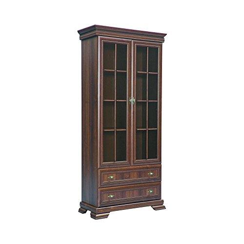 Furniture24 Vitrine Kora KRW2 Standvitrine Wohnzimmerschrank Vitrinenschrank mit 2 Türen und 2 Schubkasten (Samoa King)