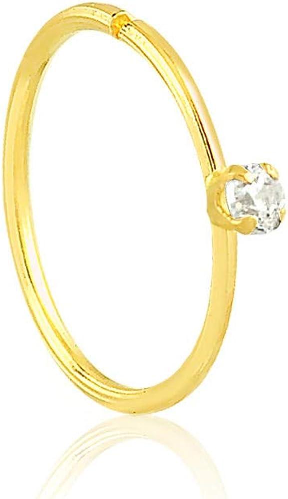 18k Yellow Gold Synthetic Cubic Zirconia Cartilage Earring Hoop, Cartilage Piercing Ring Nose Stud Ring Hoop Gauge (0.7 mm)