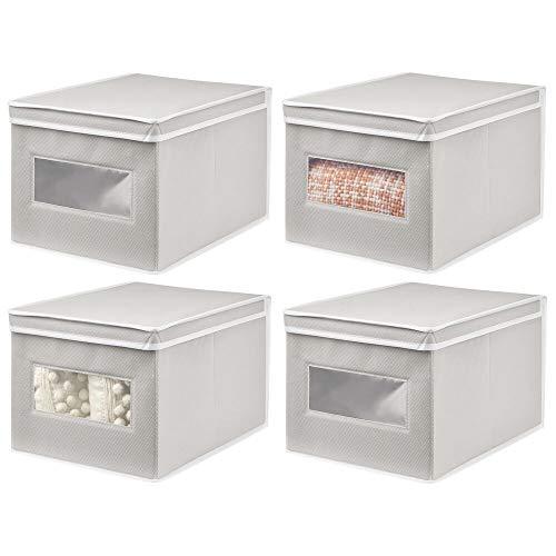 mDesign Juego de 4 Cajas de Tela – Práctico Organizador de armarios con Tapa para Dormitorio, salón o baño – Caja de almacenaje apilable de Fibra sintética Transpirable – Gris Claro/Blanco