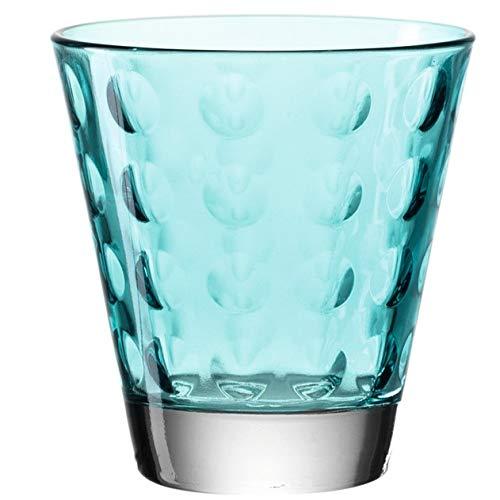 Leonardo Optic Wasser-Gläser 6er Set, spülmaschinengeeignete Saft-Gläser, bunte Trink-Becher aus Glas mit Muster, Getränke-Set, Türkis 215 ml, 017995