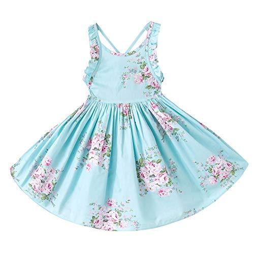Coralup Vestido para niña con cuello redondo, flores, longitud hasta la rodilla, vestido de verano azul 4-5 Años