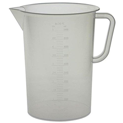 Vitlab 445941 Messbecher, Polypropylen, erhabene Skala, 5000 ml (6-er Pack)
