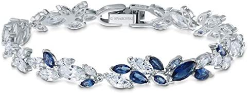 SWAROVSKI Women's Louison Jewelry Collection, Rhodium Finish, Blue Crystals, Clear Crystals