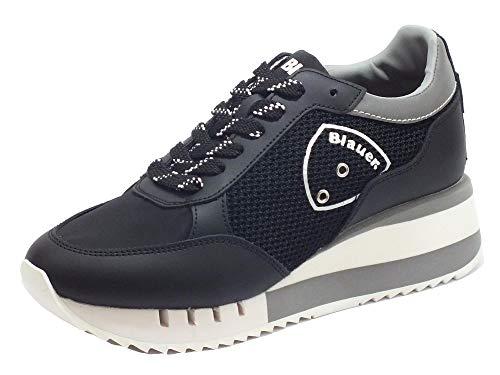 Blauer USA Charlotte 05 Black Sneakers Donna in Pelle e Tessuto Zeppa Alta (Taglia 37)